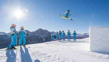 Freestyle skiing. Take off in the cool ski park at Plan de Corones